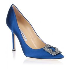 Manolo Blahnik Hangisi 105 Royal Blue Satin Pump ($850) ❤ liked on Polyvore featuring shoes, pumps, heels, manolo blahnik, blue, blue satin pumps, blue heeled shoes, evening pumps, blue high heel pumps and pointed toe high heel pumps
