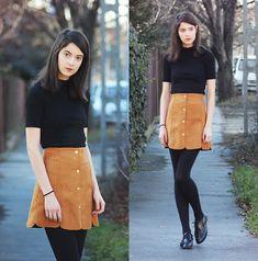 Get this look: http://lb.nu/look/7933894  More looks by Nora Aradi: http://lb.nu/norya  Items in this look:  H&M Black Top, Yoins Mustard Skirt, Primark Black Oxfords   #vintage #winter