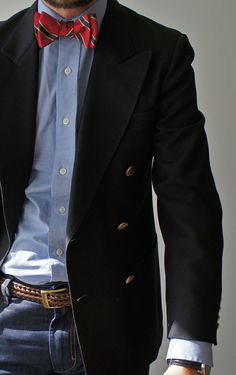 Red Stripe Bow Tie