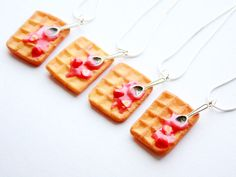 waffle necklacehandmade polymer clay sweet by ThisCharmingStuff, $15.00