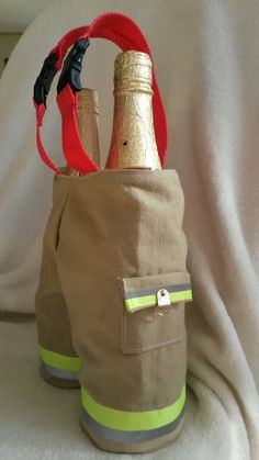 Firefighter wine/bottle holder by KJSpoo on Etsy