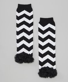 This Just For Girls Black & White Zigzag Ruffle-Trim Leg Warmers by Just For Girls is perfect! #zulilyfinds