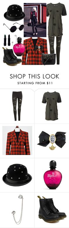 """""""Outfit #4"""" by annanoire ❤ liked on Polyvore featuring Wet Seal, Balmain, Tarina Tarantino, American Retro, Paco Rabanne, Dorothy Perkins, Dr. Martens and Sam Edelman"""