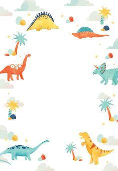 Customize, add text and photos. Print for free! Dinosaur Birthday Invitations, Dinosaur Birthday Party, Birthday Invitation Templates, Baby Birthday, Birthday Ideas, Birthday Cake, Mermaid Invitations, Free Birthday, Graduation Invitations