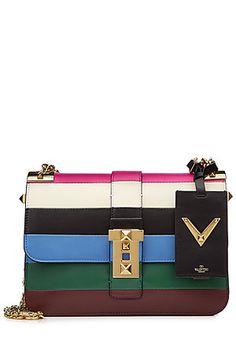 Valentino B Rockstud color-block leather shoulder bag