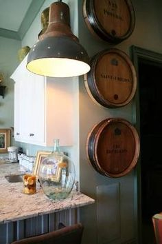 Old-world romantic styles inspire Liens' home   The Daily News Journal   dnj.com - wine barrel tops - clever wall art