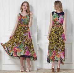 New Fashion Women Maxi Dress Bohemian Chiffon Floral Print Sleeveless Tank Dress Yellow Chiffon Dress Long, Floral Chiffon, Belted Dress, Yellow Dress, Tank Dress, Fashion Prints, Bohemian Style, Dresses Online, Summer Dresses