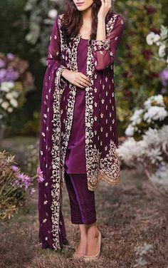 Buy Dark Purple Embroidered Chiffon Dress by Mina Hasan 2015.