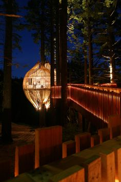 A dream of a child turned into reality thanks to an adult fantasy.  On the top of an enormous Redwood tree in Auckland over 40m high, let's have a special dinner at Yellow Treehouse Restaurant, by Pacific Environments NZ Ltd: Architects #WoodLovers #Wood #Architecture