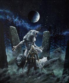 Color Illustrations on Werewolf-Horror - DeviantArt Fantasy Creatures, Mythical Creatures, Dark Fantasy, Fantasy Art, Werewolf Art, Vampires And Werewolves, Wolf Spirit, Fantasy Characters, Amazing Art
