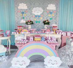 ideas de baby shower de nubes y arco iris ile ilgili görsel sonucu Rainbow Theme, Rainbow Birthday, Rainbow Baby, Unicorn Birthday Parties, Unicorn Party, Cloud Party, Fiesta Baby Shower, Baby Shower Themes, Shower Baby