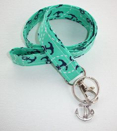 Fabric Lanyard  ID Badge Holder - Lobster clasp and key ring - mint, navy and white anchors - coworker gift for her under 10