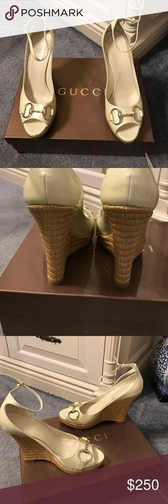 Authentic Gucci ivory Patent Leather Wedge.size 7 Authentic Gucci Ivory leather wedge, shoes are in excellent shape. Size 7. Original box & cloth storage bags. Barely worn. Gucci Shoes Heels