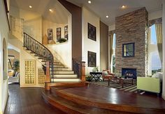 Love living area w stone fireplace. Grand Ashford Plan at Bower Ranch in Grand Prairie, Texas by Grand Homes