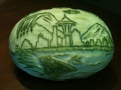 Dayna Klitzner, fruit & vegetable carving expert, and owner of Nosh Away catering in Seattle created a unique image of Seattle's @Seafair Festival celebration!!!!