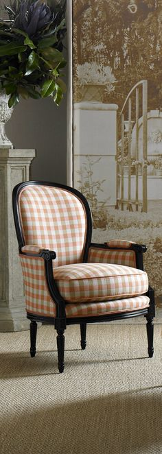 Checks make a statement on this traditional French Frame. Joe Ruggiero designs @Sunbrella