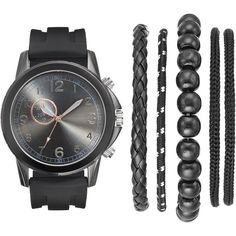 Men's Watch & Bracelet Set ($28) ❤ liked on Polyvore featuring men's fashion, men's jewelry, men's watches, watches, bracelets, men, black, men's blue dial watches, mens bracelet watch and mens stainless steel watches