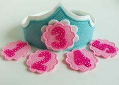 Felt Birthday Crown with Interchangeable Numbers - Light Blue Turquoise Pink Flower Girl's Adjustable Wool.