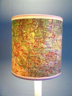 Landkarten Lampenschirm selber machen