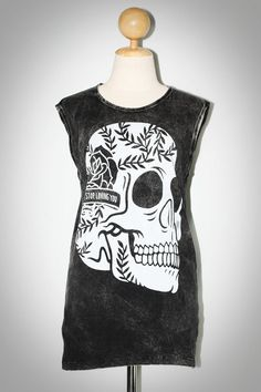 Graphic Skull Bleached Black Tank Top Sleeveless Women Art Punk Rock T-Shirt Size M-L