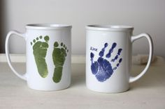 What a great Gift!!!!Father;s Day Ceramic Mug: Handprint & Footprint Pottery Keepsake via Etsy