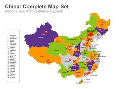 China Districts and Administrations Map - Mac Keynote Template.  This deck of 48 Mac keynote slides not only include the major cities of China but also maps of all the provinces and administrative regions with their capitals. There are other slides which present data and graphs, physical features, transport and national flag icons. Buy only from muezart.com