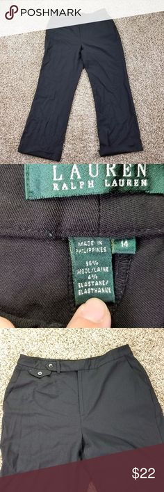 LAUREN RALPH LAUREN Dress Pants 14 Size Black Wool This dress pant is pre-owned condition small tear on cuff see pic. These career slacks work with just about any style. Kept in a smoke-free environment. Size: 14 Color: black Fabric: wool Thank you for stopping by Simply Peek and shopping small business. nik a8 2.3/11 Waist Flat  17 Rise 12  Inseam 29 Small tear on cuff see pic x Lauren Ralph Lauren Pants Wide Leg