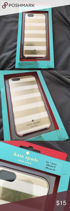 Kate Spade gold and white iPhone 6 / 6S case Kate Spade IPhone 6/6S white and gold striped case. Some damage on the box but case is new. Bundle and save! kate spade Accessories Phone Cases