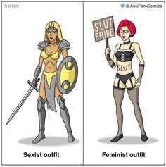 The one on the left is sexist because it was designed by a straight man to objectify the female character wearing it whereas the one on the left is a real human being who made her own decision to dress like that why do I need to point that out.