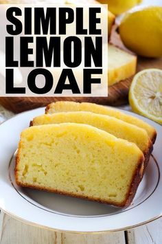If you're looking for dessert recipes that don't take a ton of time to prepare and bake, and that aren't heavy on the chocolate and sugar, this simple lemon loaf has your name written all over it. It's a timeless classic and tastes great with a bit of mel Loaf Recipes, Pound Cake Recipes, Sponge Cake Recipes, Easy Baking Recipes, Banana Bread Recipes, Free Recipes, Brownie Desserts, Easy Desserts, Healthy Lemon Desserts