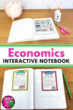 Economics Interactive Notebook for Grade Social Studies Financial Literacy Interactive Activities, Interactive Notebooks, Social Studies Notebook, Shape Books, Map Skills, Book Organization, Financial Literacy, Graphic Organizers, Goods And Services