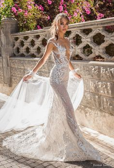 elihav sasson 2018 capsule bridal cap sleeves deep v neck full embellishment sexy modified a line wedding dress open low back medium train mv -- Elihav Sasson 2018 Royalty Girl Capsule Collection Sheer Wedding Dress, Amazing Wedding Dress, Wedding Dresses 2018, Wedding Dress Trends, Bridal Dresses, Wedding Cape, Wedding White, Wedding Ceremony, Lace Wedding