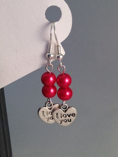 i love you earrings with glass red pearls by BrowniesCRAFTBOX