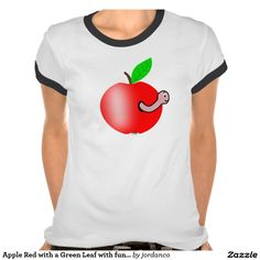Apple Red with a Green Leaf with funny Worm T-shir