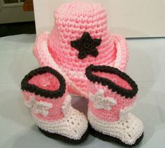 Baby Girl  Cowgirl Gift Set  in acrylic  Pink White and Gray  Crochet Baby Shower  USA,