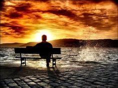 sunset beach alone