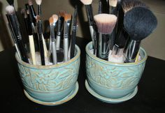 Flower pots are excellent holders for makeup brushes and they are cute too!