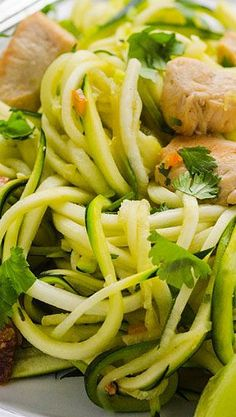Zucchini Noodles with Cilantro Lime Chicken no cumin or peppers and it is AIP