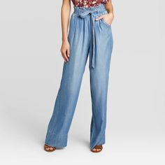 BEDAZZLED JEANS are Outdated. Replace with these for a more UPDATED look. Wide Leg Cropped Pants, Straight Leg Pants, Blue Fashion, Fashion Pants, Neutral Tops, Paperbag Pants, Patterned Tights, Knox Rose, Twill Pants
