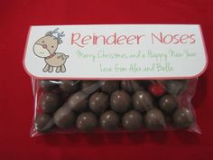 Reindeer noses using Maltesers and Jaffas! A cute little teacher Christmas gift :-)