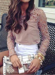 Lace Cutout Shirt Women Handmade Crochet Cape Collar Batwing Sleeve T-shirtT-Shirts | RoseGal.com