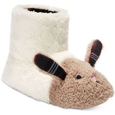 kensie Women's Critter Bunny Boot Slippers (£23) ❤ liked on Polyvore featuring shoes, slippers and ivory