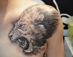 Black and Gray Tattoo Lion on Chest