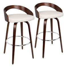 Grotto Mid-Century Modern Counter Stool w/ Swivel in Cherry w/ White Faux Leather - Set of 2 - Lumisource Modern Counter Stools, Leather Counter Stools, Swivel Counter Stools, Counter Height Stools, Bar Counter, Kitchen Stools, Island Stools, Kitchen Cabinets, White Cherries