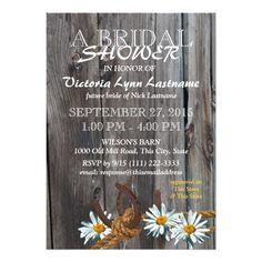 Rustic Barn Wood and Daisies Bridal Shower Card
