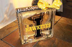 Crafting Glass Block. Iowa Hawkeyes