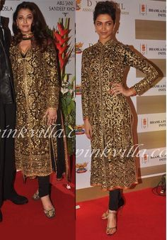 Aishwarya Rai or Deepika Padukone in Abu-Sandeep Black/Golden outfit?