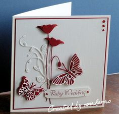 Memeory Box dies, Cream Linen card and Dark Red card, Computerised Sentiment