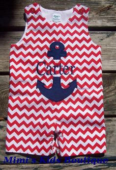 Split anchor chevron JonJon-chevron, jon jon, shortall, romper, red, anchor, monogrammed, applique, boys