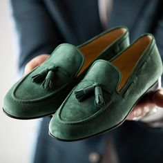 Handmade Men's Loafer Tussles Shoes, Men's Green Suede Loafer Slip on Shoes. from - Matt Sipple - - Handmade Men's Loafer Tussles Shoes, Men's Green Suede Loafer Slip on Shoes. Suede Leather Shoes, Suede Loafers, Loafer Shoes, Loafers Men, Soft Leather, Soft Suede, Calf Leather, Cowhide Leather, Dandy